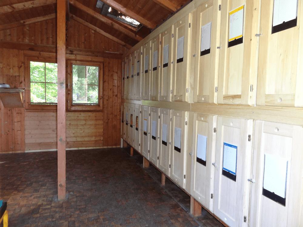 neue Bienenkästen aber noch der alte Boden